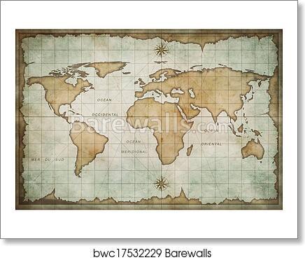 Frameable World Map.Old World Map Background Art Print Barewalls Posters Prints