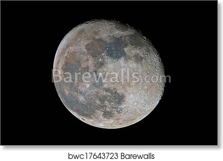 Waning Gibbous Moon Showing Subtle Color Differences Due To The