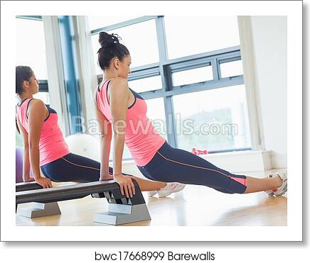 Two Fit Women Performing Step Aerobics Exercise In Gym Art Print Barewalls Posters Prints Bwc17668999 Photos of beautiful healthy women, the food that builds better bodies, and words of motivation to inspire all of us that want to be our best. barewalls