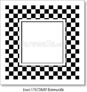 Art Print Of Black And White Checkered Frame With Frame Background
