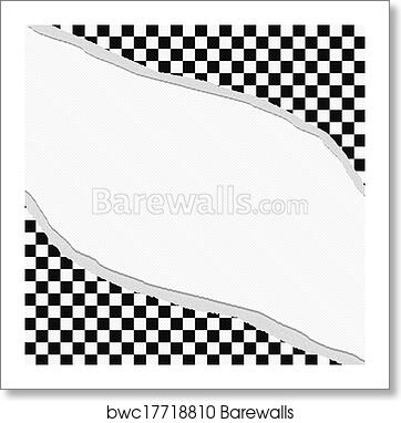Art Print Of Black And White Checkered Frame With Torn Background