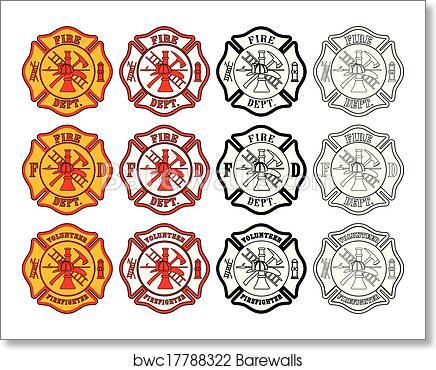 Art Print Of Firefighter Cross Symbol Barewalls Posters Prints