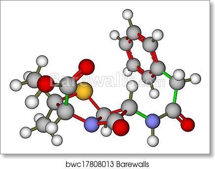 art print of penicillin g molecular structure barewalls posters