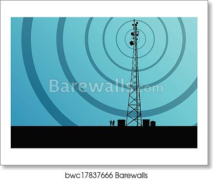 Telecommunications mobile phone base station radio tower with engineers in  industrial concept background vector art print poster