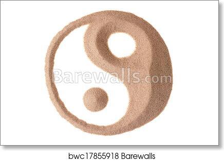 Art Print Of Yin Yang Symbol In Sand Barewalls Posters Prints