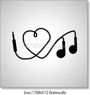 Art Print Of I Love Music Headphones Barewalls Posters Prints