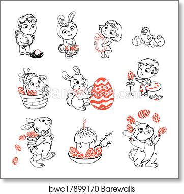 Happy Easter. Coloring book art print poster