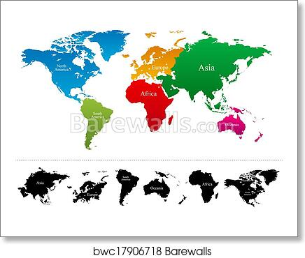 Vector world map with colorful continents art print poster
