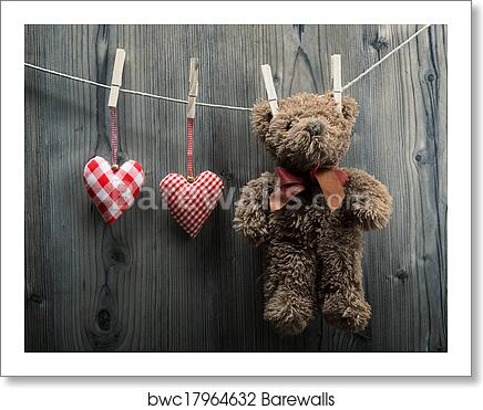 Art Print Of Valentine S Day Wallpaper Teddy Bear Hanging With