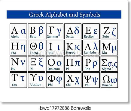 Art Print Of Greek Alphabet And Symbols Barewalls Posters Prints