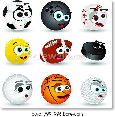 Cartoon Sport Balls Art Print Barewalls Posters Prints Bwc17991996