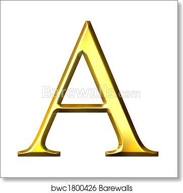 3D Golden Greek Letter Alpha, Art Print