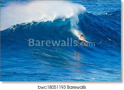 Surfer Riding Giant Wave Art Print Poster