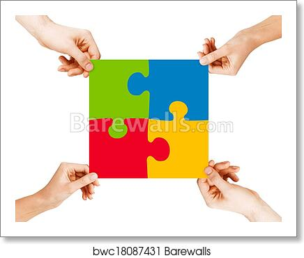 art print of four hands connecting puzzle pieces barewalls posters