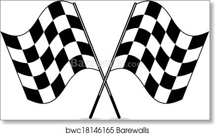 Racing Checkered Flag >> Art Print Of Vector Black And White Crossed Racing Checkered Flags