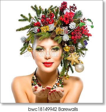 Christmas Woman Christmas Tree Holiday Hairstyle And Makeup Art