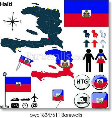 Art Print Of Map Of Haiti Barewalls Posters Prints Bwc18347511