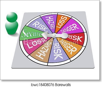 art print of insurance game board security risk spin barewalls