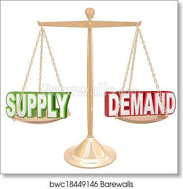 art print of supply and demand balance scale economics principles