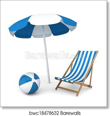 Beach Umbrella And Chair Throughout Art Print Of Beach Umbrella Chair And Ball Barewalls Posters