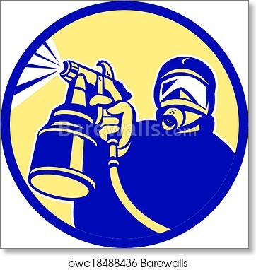 Spray Paint Gun Painter Spraying Retro art print poster
