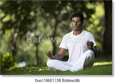 Indian Man Doing Yoga Exercise In A Forest Art Print Barewalls Posters Prints Bwc18601138