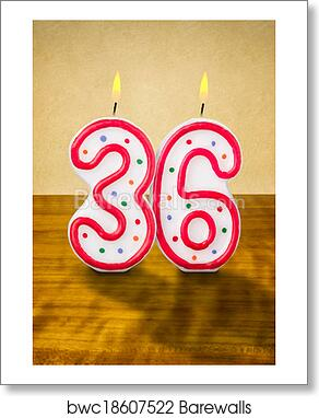Burning Birthday Candles Number 36 Art Print