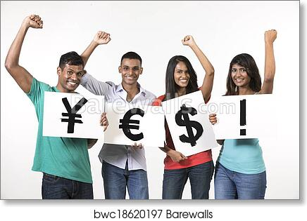 Indian people holding banners with currency symbols art print poster