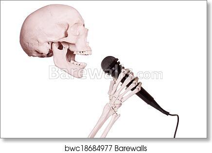 Art Print of Skeleton hand holding microphone | Barewalls Posters ...