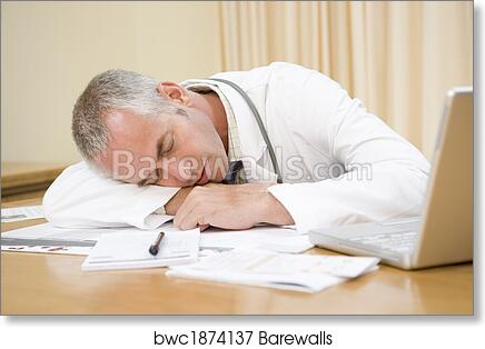 art print of doctor with laptop sleeping in doctor s office