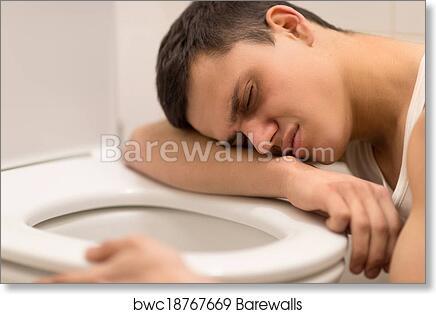 Terrific Young Man Lying On Toilet Seat Drunk Man Kneeling Over Toilet Seat Art Print Poster Spiritservingveterans Wood Chair Design Ideas Spiritservingveteransorg
