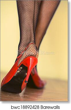63ab0b8f0b1 Female legs in heels and fishnets art print poster