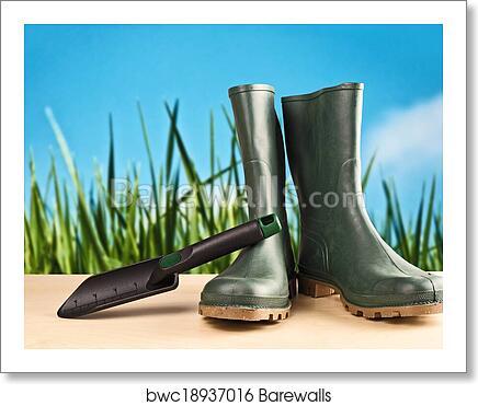 Green Rubber Boots For Garden Work Art Print Poster