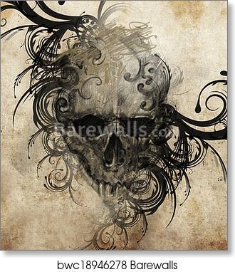 e8183e446 Sketch of tattoo art, skull with tribal flourishes, Art Print ...