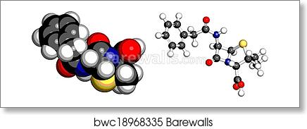 Penicillin G (benzylpenicillin) antibiotic drug molecule  Used to treat  bacterial infections