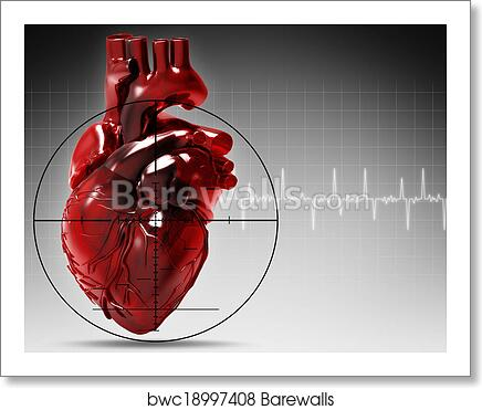 Human Heart Under Attack Abstract Medical Background Art Print Poster