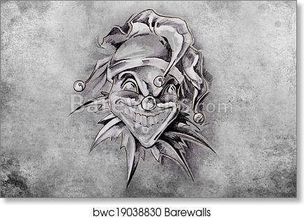 Art Print Of Tattoo Joker Illustration Handmade Draw Over Vintage