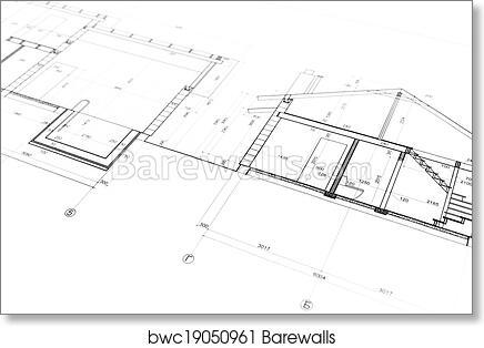 Art print of architecture blueprint barewalls posters prints art print of architecture blueprint malvernweather Image collections
