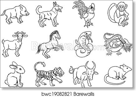 Art print of chinese zodiac signs