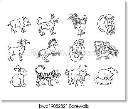 Art print of chinese zodiac signs
