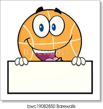 Funny Basketball Over Blank Sign Art Print Barewalls Posters Prints Bwc19082850
