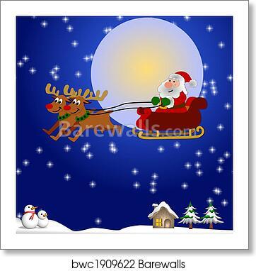 art print of santa and his sleigh barewalls posters prints