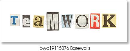 Art print of teamwork cutout newspaper letters barewalls posters art print of teamwork cutout newspaper letters spiritdancerdesigns Gallery