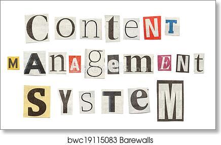 Art print of content management system cutout newspaper letters art print of content management system cutout newspaper letters barewalls posters prints bwc19115083 spiritdancerdesigns Gallery