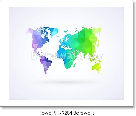 Art print of world map of rainbow color barewalls posters prints art print of world map of rainbow color gumiabroncs Gallery