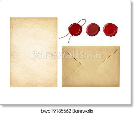 art print of vintage postal set old mail envelope blank letter
