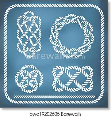 Decorative rope knots art print poster