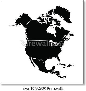 Chunky North America Map art print poster