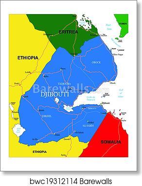 Art Print of Djibouti map | Barewalls Posters & Prints | bwc19312114
