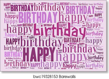 art print of happy birthday word cloud barewalls posters prints